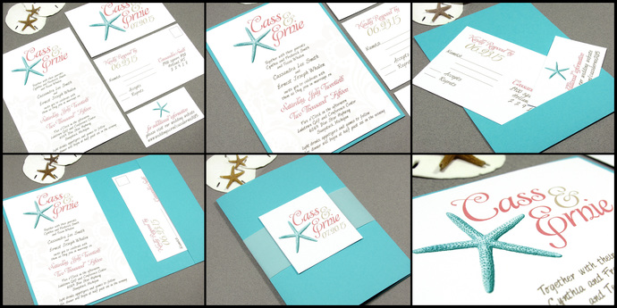 Beach Wedding Invitations Starfish Invitation Set Destination
