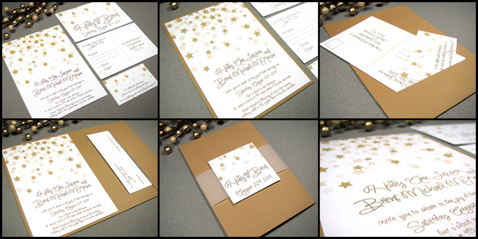 Star Wedding Invitation Set Falling By Runkpockdesigns On Zibbet