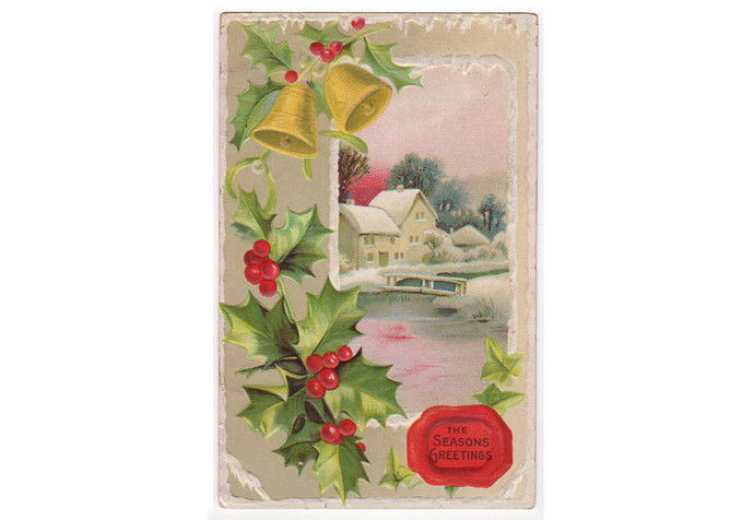 Antique Christmas Postcard Embossed 1910s Seasons Greetings House Holly Gold