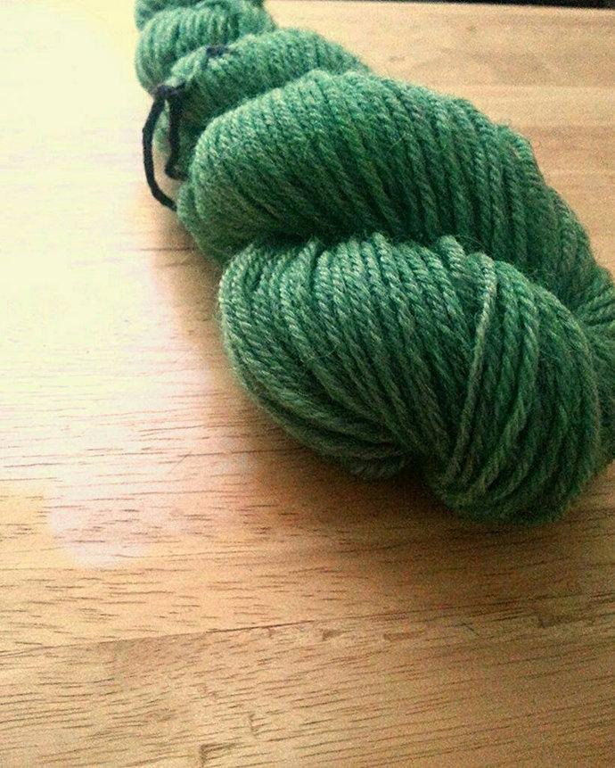 Handpainted Sport Weight Merino Wool Yarn in Green Sea Glass Colorway