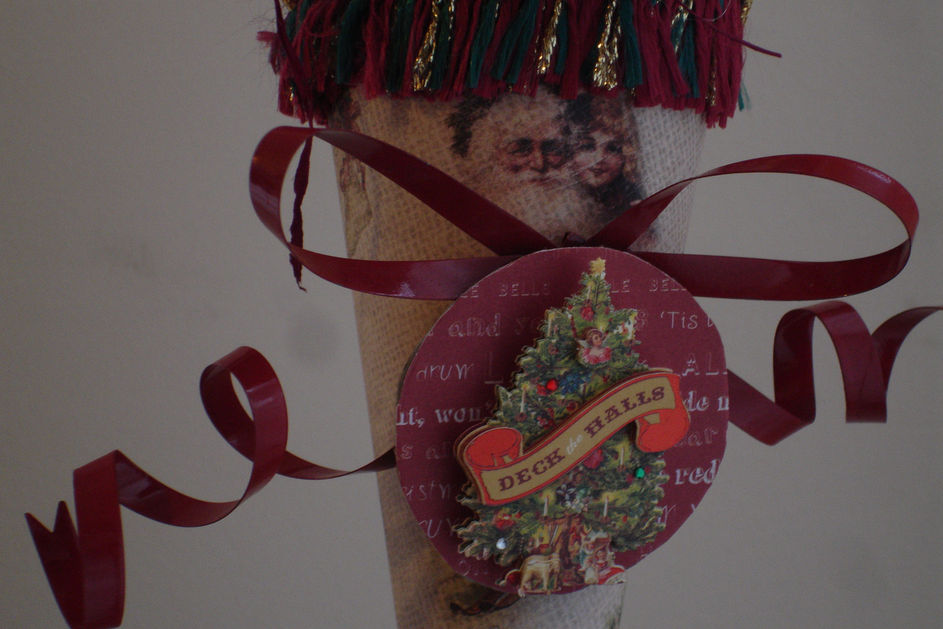 Santa Christmas Tussie Mussie Cone Decoration - Handmade - OOAK
