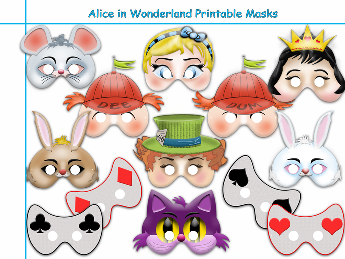 photograph about Printable Alice in Wonderland titled One of a kind Alice in just Wonderland Printable Masks Selection, wonderland bash, birthday, alice mask, dress, cheshire cat, photograph props, young children mask
