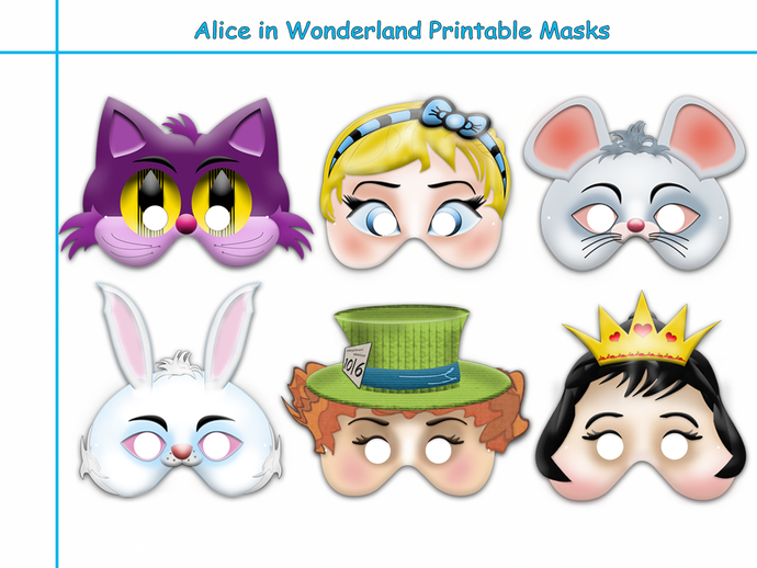 Unique Alice in Wonderland Printable Masks Collection,wonderland