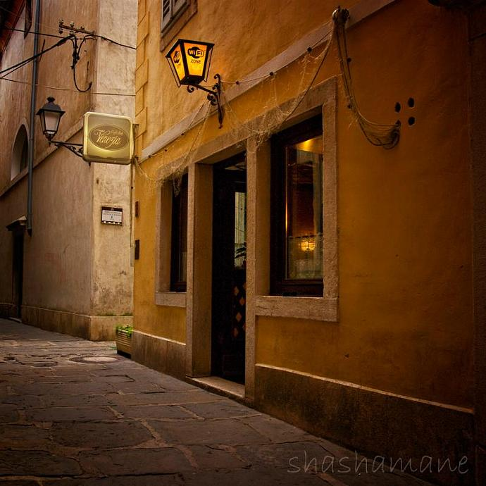 "Caffe Bella Venezia - 5 x 5"" Fine art photography print - Cafe in Slovenia"