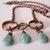 Triple swirl drop copper necklace with aqua green quartz and copper chain,
