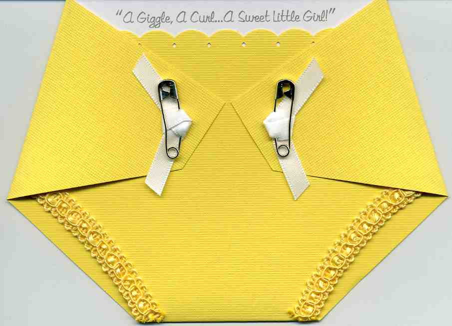 Baby Shower Invitation - Yellow Diaper by Kards by Kaylee on Zibbet