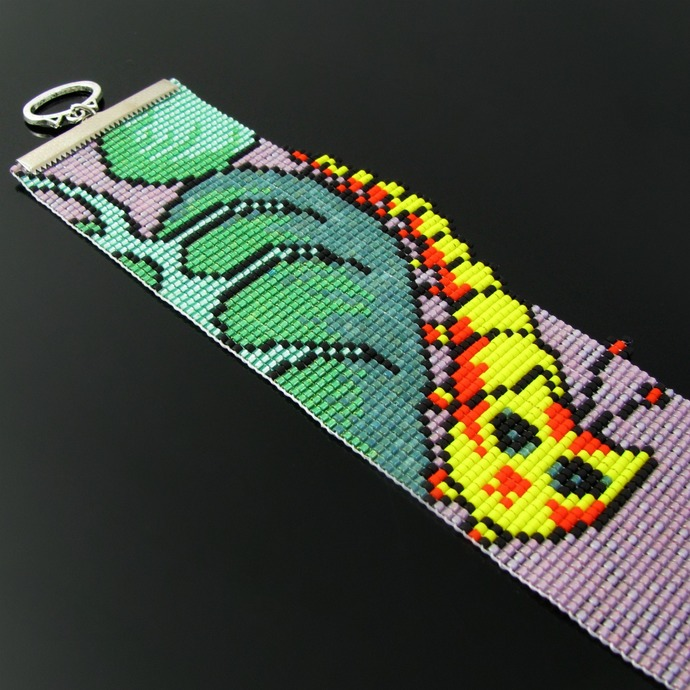 Bead loomed cat bracelet Caterpillar - A HeatherCat