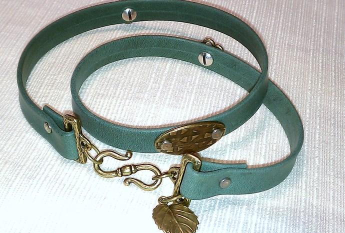 Forest Green Leather Triple Wrap Bracelet, Item #498