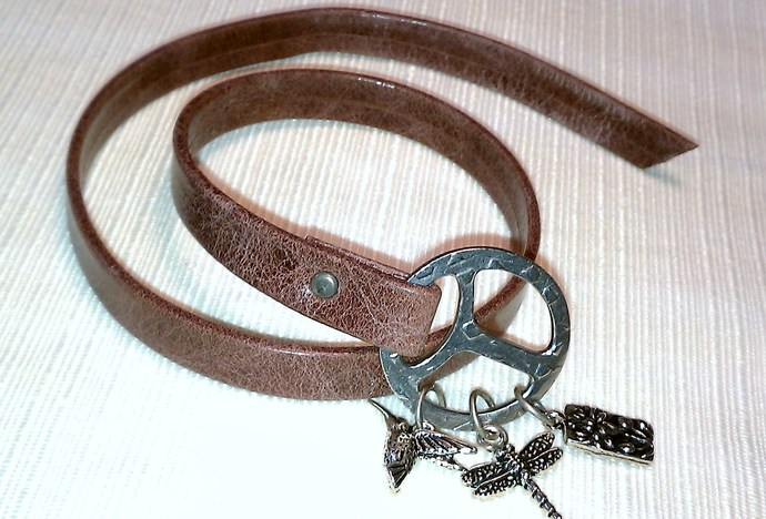 Dusty Rose Leather Wrap Bracelet, Item #1401
