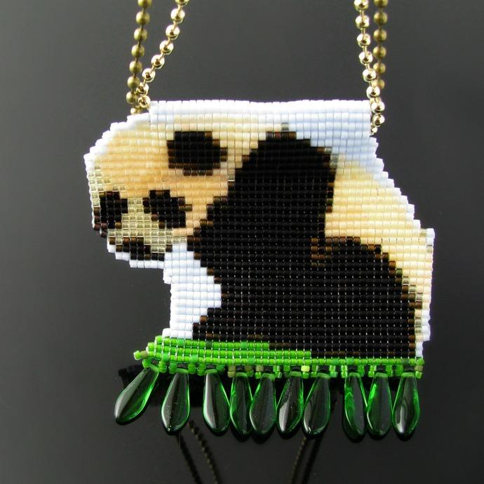 Bead loomed Panda baby pendant with green dagger fringe