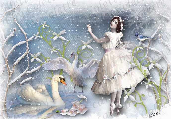 Winter Ballet Digital Collage Greeting Card5505