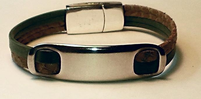 Forest Green & Khaki Arizona Leather Bracelet, Item #1406