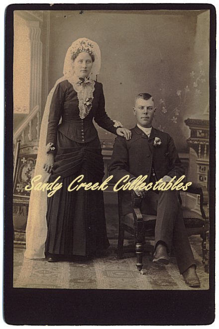 1880s Bride and Groom Antique Wedding Cabinet Photo Carlson Forslund