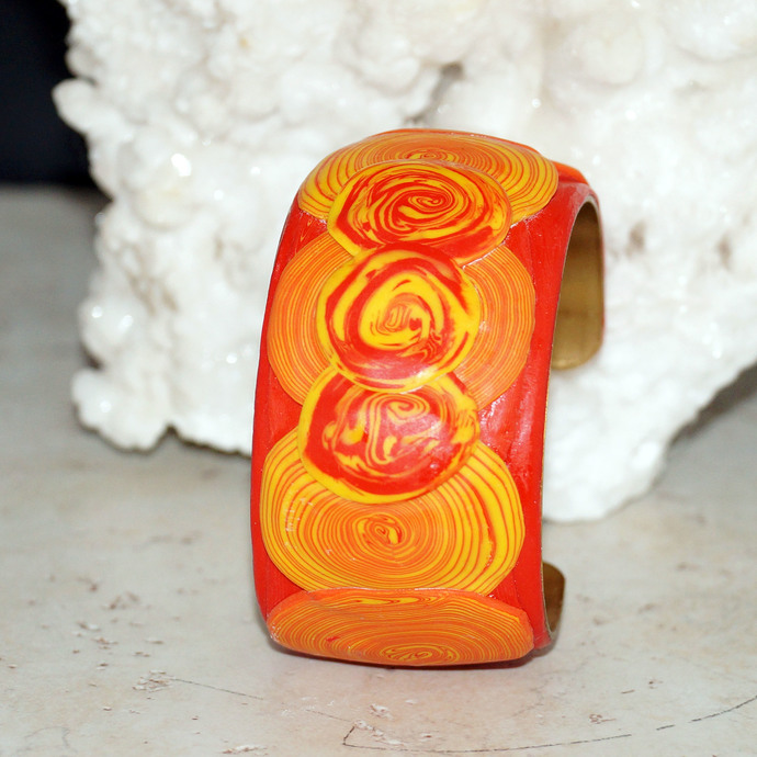 Bright Red Orange and Yellow Polymer Clay Brass Cuff