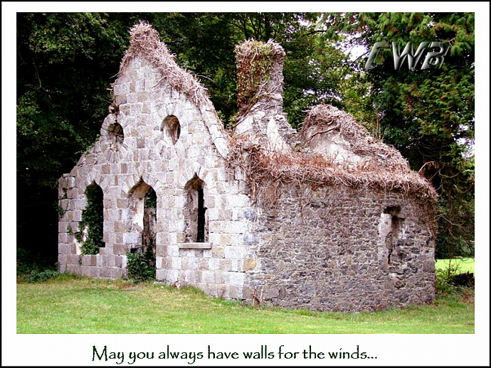 Cottage with Irish Blessing fine art print