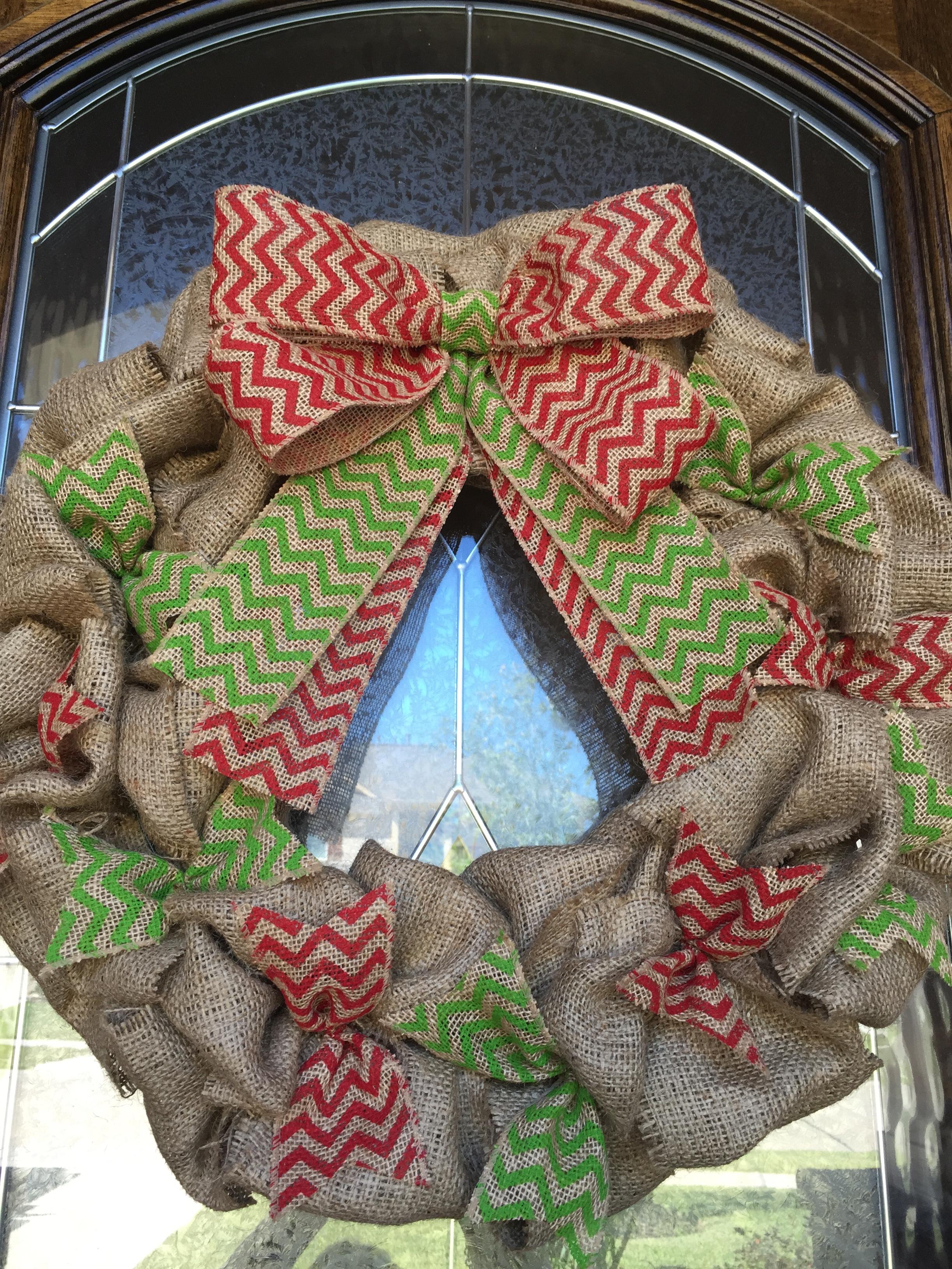 christmas burlap wreath red chevron by green lemon designs on zibbet - Christmas Burlap Wreath