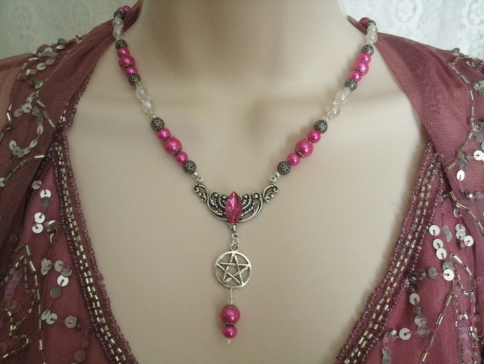 Pink Magic Pentacle Necklace, wiccan jewelry pagan wicca witch witchcraft