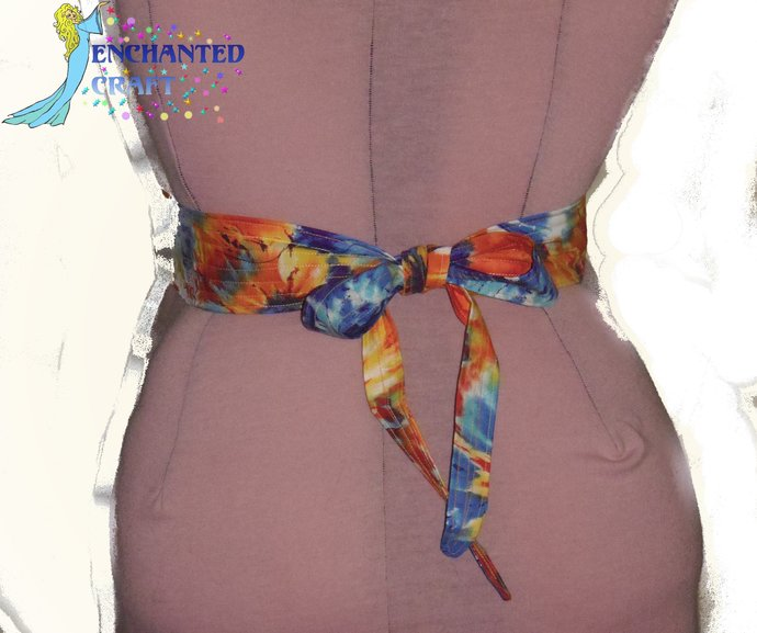 fun tie dye Tie & Belt SET perfect for Square Dancers 60's, hippie, bright,