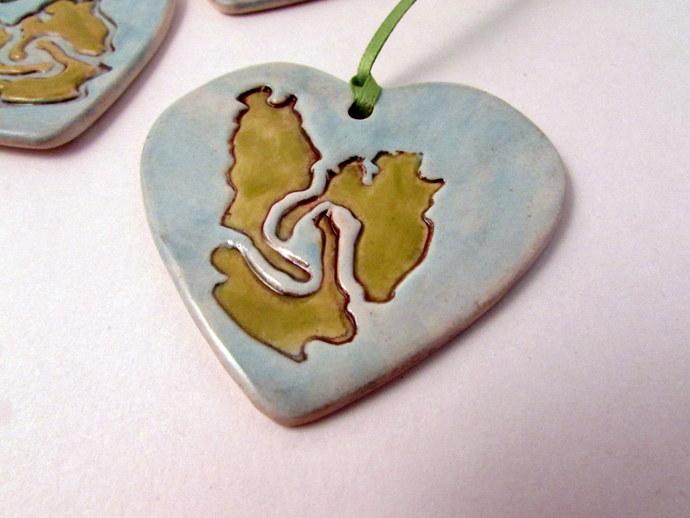 Cape Breton Porcelain Heart Christmas Ornament