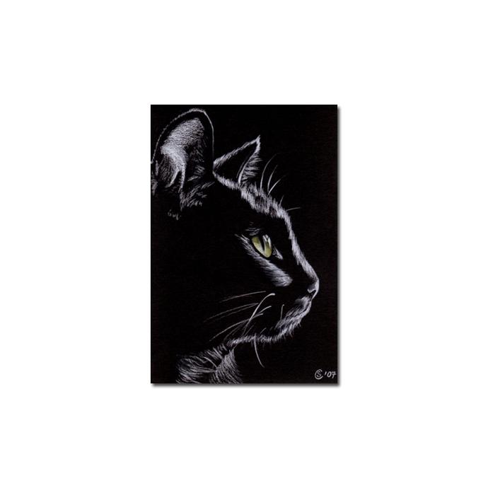 Black CAT Sunshine 4 kitten Halloween chat noir drawing painting Sandrine