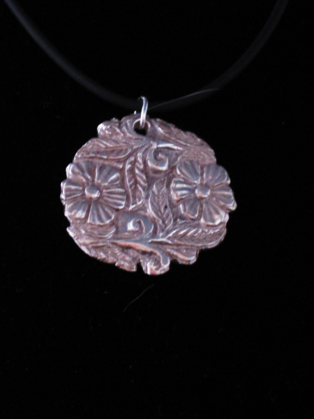 Fine Silver Carved Flower Pendant