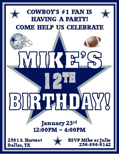 12 printed dallas cowboys football by thenotecardlady on zibbet 12 printed dallas cowboys football invitations with envelopes several styles filmwisefo Gallery