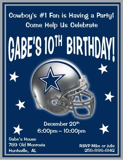 Dallas Cowboys Birthday Party Invitations Image collections