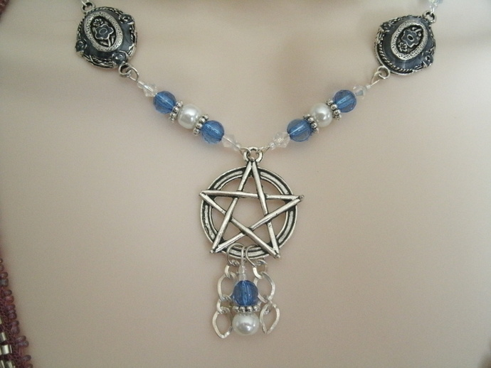Blue Pentacle Necklace, wiccan pagan jewelry wicca witch witchcraft pentagram