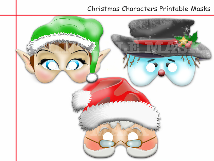 Unique Christmas Characters Printable Masks,Red-Nosed,Santa Claus,Hermey