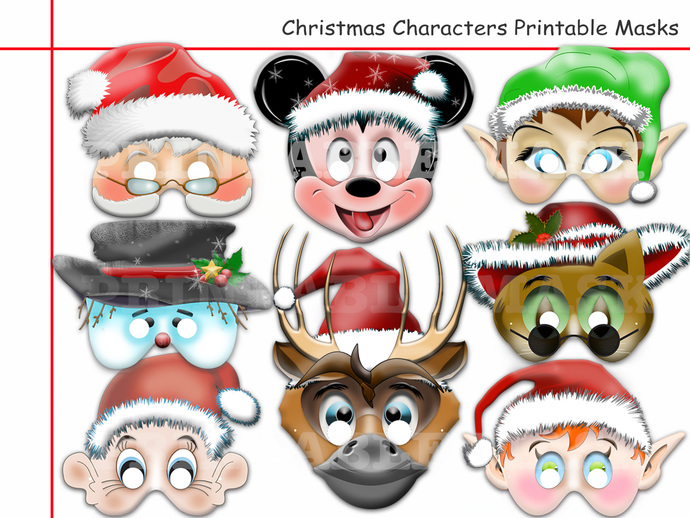 3d8d08cef Unique Christmas Characters Printable Masks, Rudolph, Red-Nosed, Reindeer,  Santa