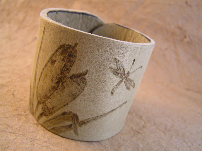 Wood burned leather cuff dragonfly bracelet
