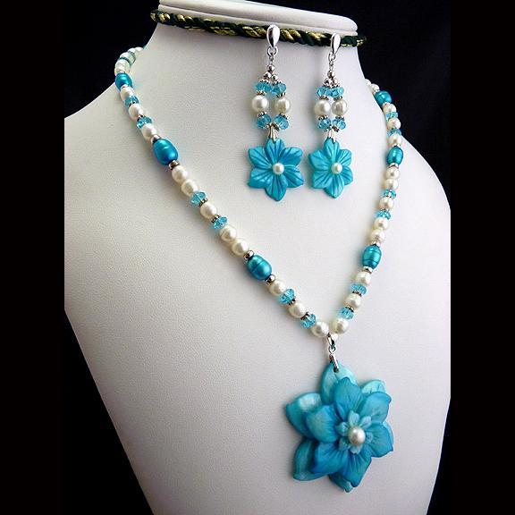 Sterling Silver Carved Aqua Shell Flower and Freshwater Pearl Necklace and