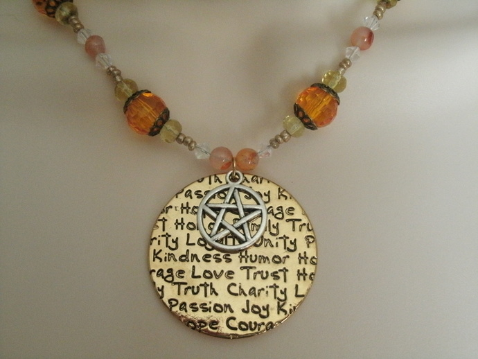 Words Of The Goddess Pentacle Necklace, wiccan pagan wicca goddess jewelry