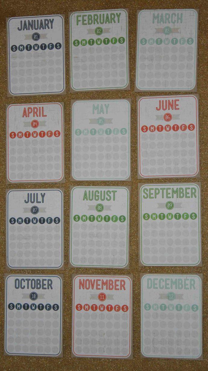 Monthly Calendar Journal Cards #E-0052