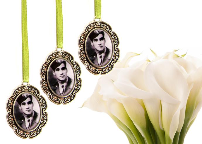 3 custom bouquet charms in antique silver, custom wedding bouquet photo charm,
