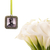 Custom bouquet charm in antique silver, square with scroll detailing, custom
