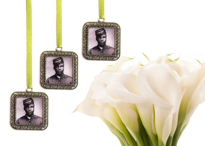 3  custom bouquet charms in antique silver, square with scroll detailing, custom