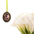 Custom bouquet charm in antique bronze, oval with scroll detailing, custom photo