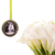 Custom bouquet charm in antique silver, circle with scroll detailing, custom
