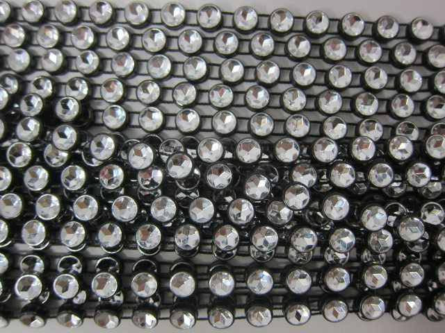 "1 yd Rhinestone Trim - 1/4"" Black/Clear stl"