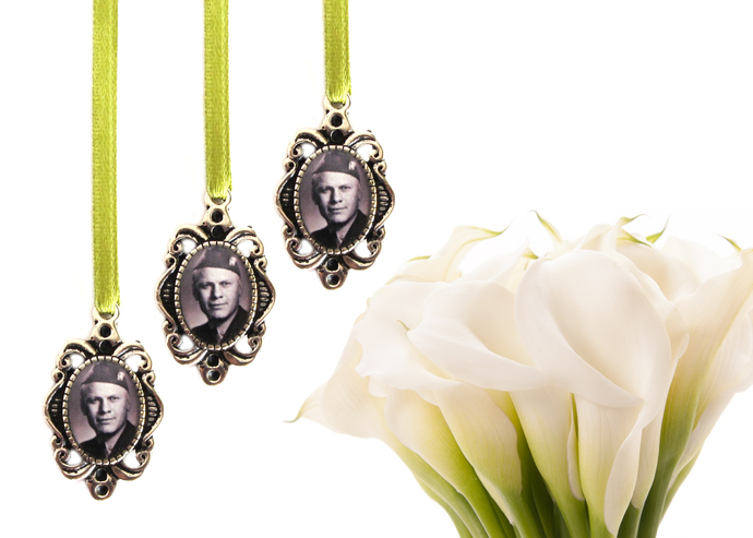 3  custom bouquet charms in antique silver, custom photo pendant, small oval