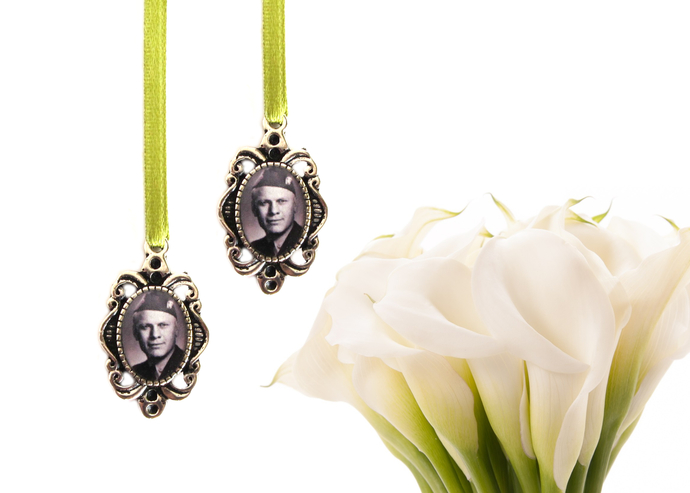 2  custom bouquet charms in antique silver, custom photo pendant, small oval
