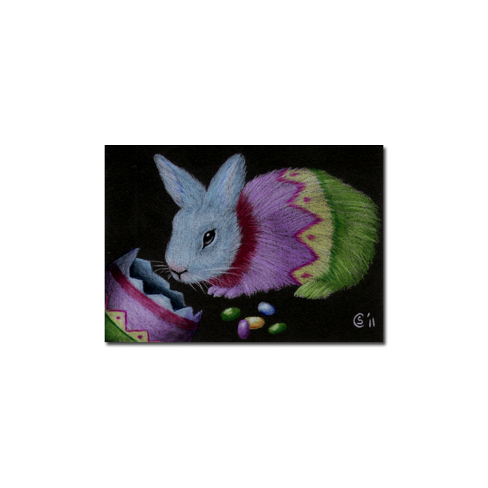 BUNNY 79 rabbit black dutch Easter pet pencil painting Sandrine Curtiss Art