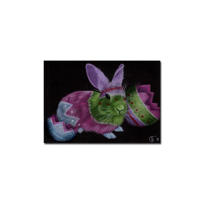BUNNY 84 rabbit black dutch Easter pet pencil painting Sandrine Curtiss Art