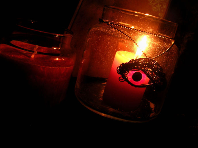 Custom Order - Candle Pendant - Glowing Dragon Eye - Sensual Honeysuckle - Pink