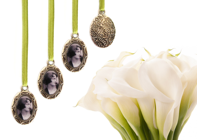 3 custom bouquet charms in antique silver, engraved leaf backing, small oval