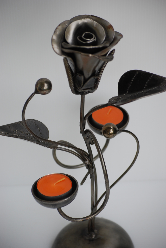 Rose Candle Holder Metal Sculpture Scrap Art Cool Gifts For Birthday