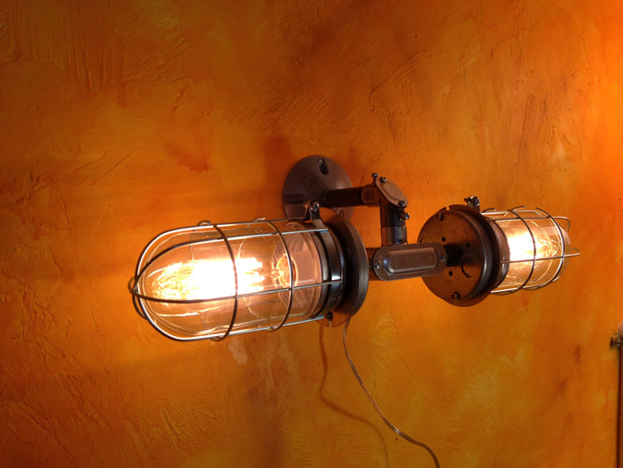 Industrial Wall Sconce Light Double Head MillerLights - Double wall sconce bathroom