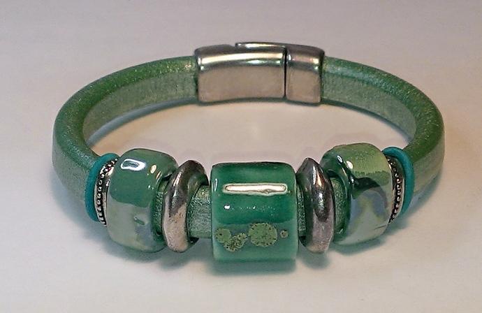 Regaliz Greek Leather Bracelet, Item #1423