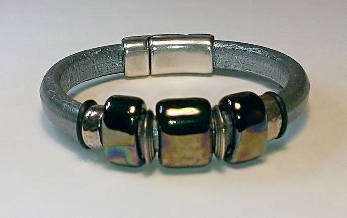 Regaliz Greek Leather Bracelet, Item #1430